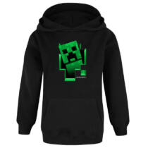 Minecraft kirobbanó Creeper fekete kapucnis kenguruzsebes pulóver