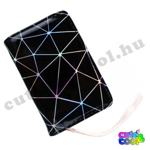Hologramos pénztárca geometriai mintával - fekete