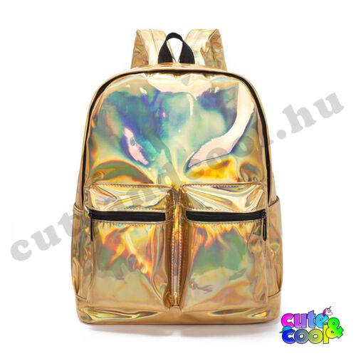 Hologramos hátizsák 2 zsebbel - arany