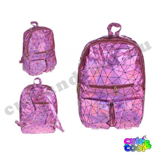 Hologramos hátizsák geometriai mintával - rózsaszín