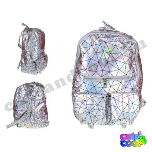 Hologramos hátizsák geometriai mintával - ezüst