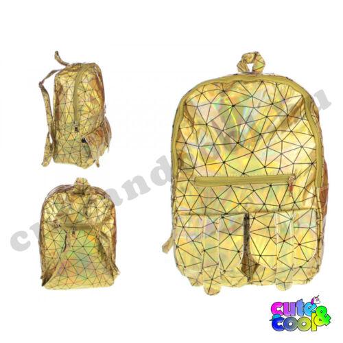 Hologramos hátizsák geometriai mintával - arany