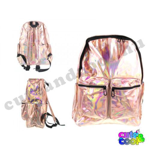 Hologramos hátizsák 2 zsebbel - rosegold