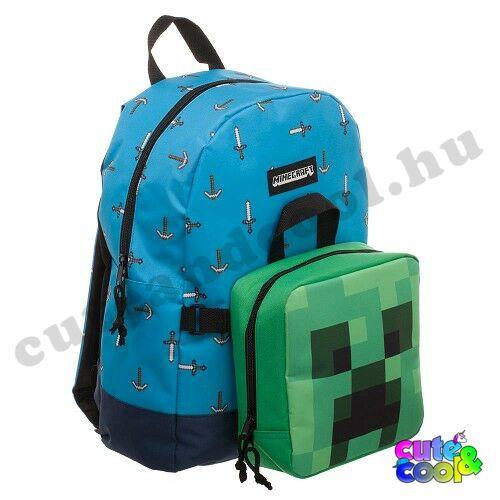 Minecraft Creeper iskolatáska uzsonnástáskával