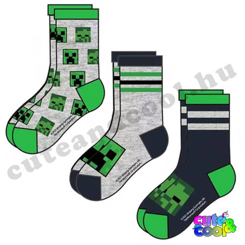 Minecraft 3db-os zokni szett Creeper-Zombi minta