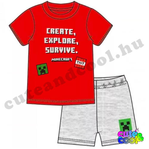 Minecraft Create-Explore-Survive piros rövid pizsama
