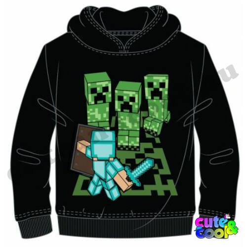 Minecraft fekete kapucnis gyerek pulóver