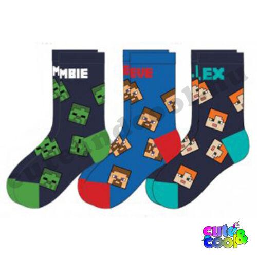 Minecraft gyerek zokni szett 3db-os