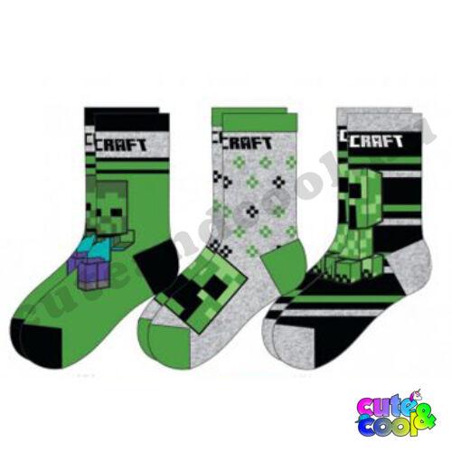 Minecraft zokni zöld-fekete 3db-os szett