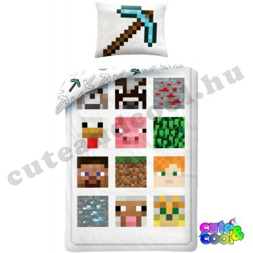 Minecraft fehér ágyneműhuzat - Pamut