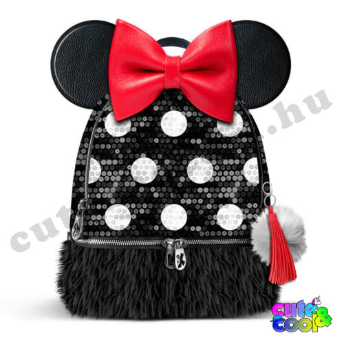 Minnie Mouse flitteres-szőrmés hátizsák
