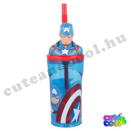 Marvel Amerika Kapitány figurás fedeles szívószálas pohár