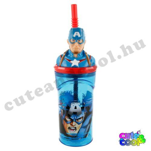 Marvel Captain Amerika figurás fedeles szívószálas pohár