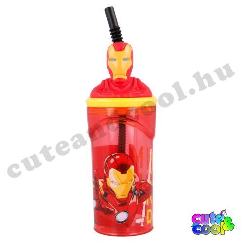 Marvel Vasember figurás fedeles szívószálas pohár