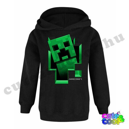 Minecraft kirobbanó Creeper fekete kapucnis pulóver