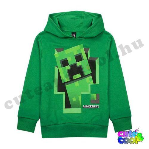 Minecraft kirobbanó Creeper zöld kapucnis pulóver