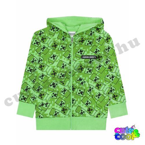 Minecraft Creeper mintás zöld cipzáros pulóver