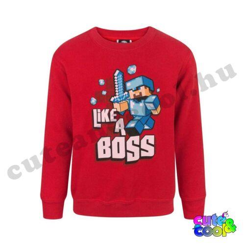 """Minecraft """"Like a Boss"""" piros pulóver"""