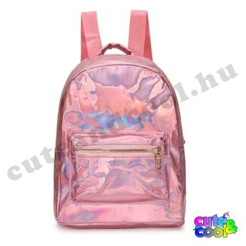 Rózsaszín hologramos hátizsák